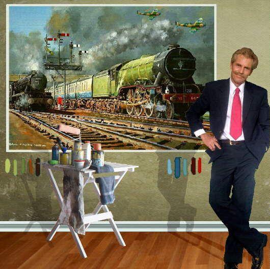 "The Flying Scotsman with acclaimed Artist Malcolm Hazeldean - 1.290m x.970 or 4'2"" x 3""2"" https://www.youtube.com/watch?v=s1rg_kixu_w greatvideo@yahoo.com.au"
