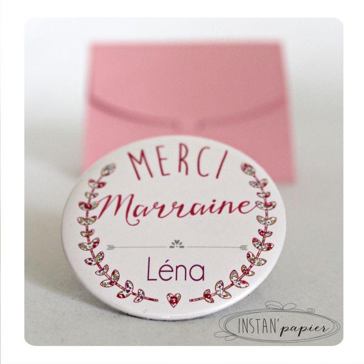 """Miroir 56mm """"merci marraine"""" avec prénom à personnaliser Couronne de feuilles en liberty Eloïse rose : Autres accessoires par instanpapier"""