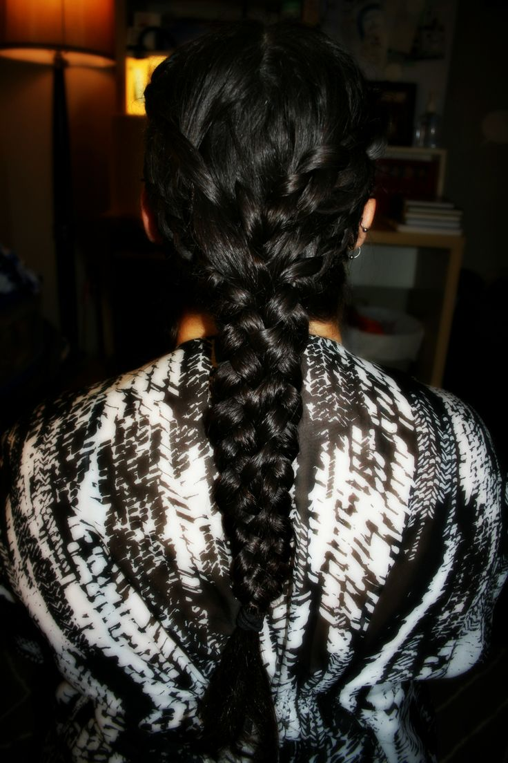 Dutch braids and lace braids into a mermaid braid.