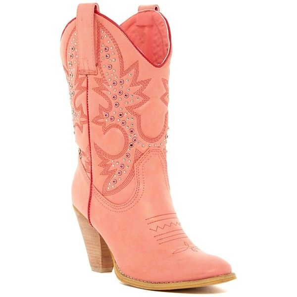 Very Volatile Rosy Western Boot (£46) ❤ liked on Polyvore featuring shoes, boots, berry, mid-calf boots, embroidered cowboy boots, studded cowboy boots, high heel boots, high heel cowgirl boots and faux-fur boots