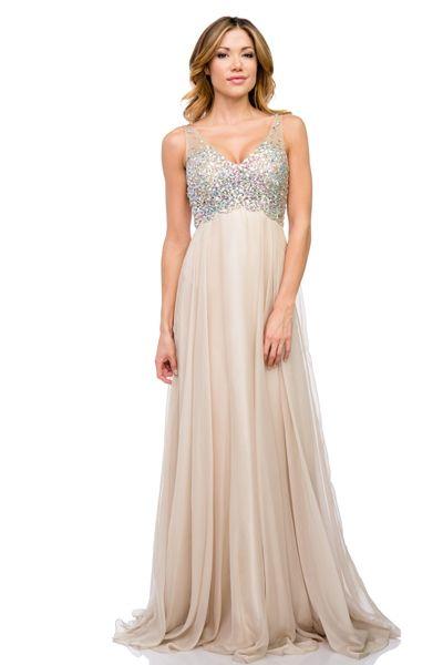 Beaded Chiffon Prom Dress in Champagne
