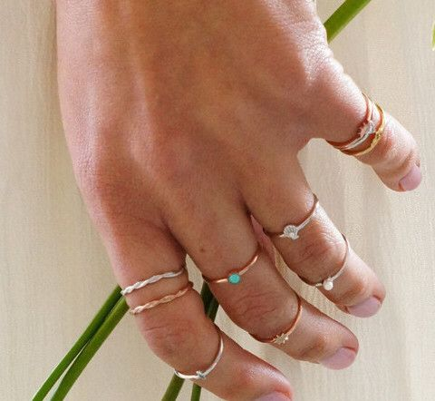 Bo Zenith tiny stack rings with inlaid freshwater pearls and precious stones  Bozenith.com.au  #bozenith #tinystackrings #sydneyjewellery