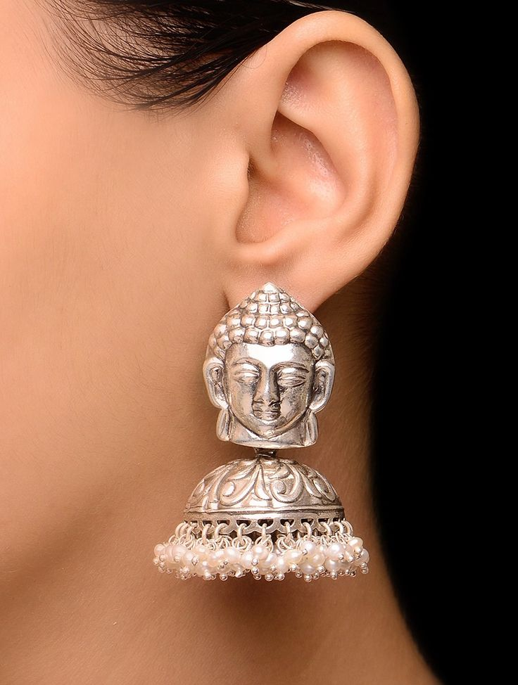 Buy Silver Ivory Buddha Drop Earrings with Pearls Jewelry Companions 200…