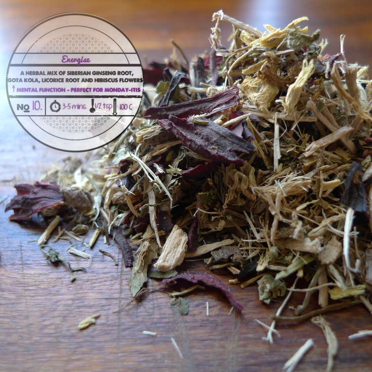 Energise by T totaler:  A Herbal Mix of Siberian Ginseng Root, Gota Kola, Licorice Root and Hibiscus Flowers.