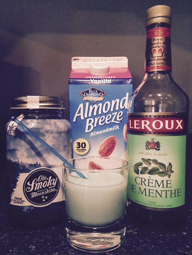 Ole Smokey Moonshine Grasshopper! 1oz Ole Smokey Snow Cream Moonshine, 2 oz Blue Diamond Unsweetened Vanilla Almond Milk, & 1/2 oz of Creme de Menthe = Delicious!