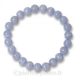 Bracelet boules 8 mm - Calcédoine bleue - n°1