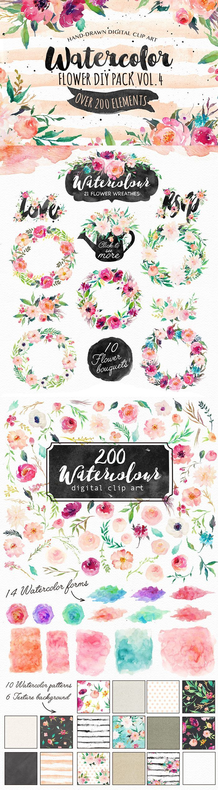 This is a big watercolor collection containing over 200 graphic elements. Includes: florals, floral wreathes, floral bouquets, leaves, ribbon, branches, grass, watercolor forms, catchwords, texture background, seamless patterns, frames, logos, ornaments. Can be used for various purposes such as logos, wedding invitations, t-shirts, labels, badges, greetings, packaging, stationery, merchandise, posters, websites, digital presentations and more....you can DIY anything you want! :)