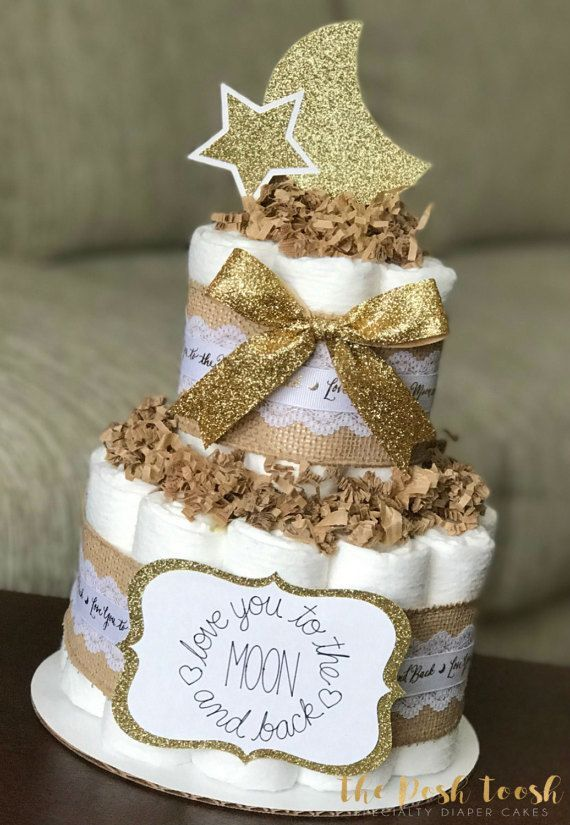 Moon Star Diaper Cake Baby Shower Centerpiece Decor Gift Love