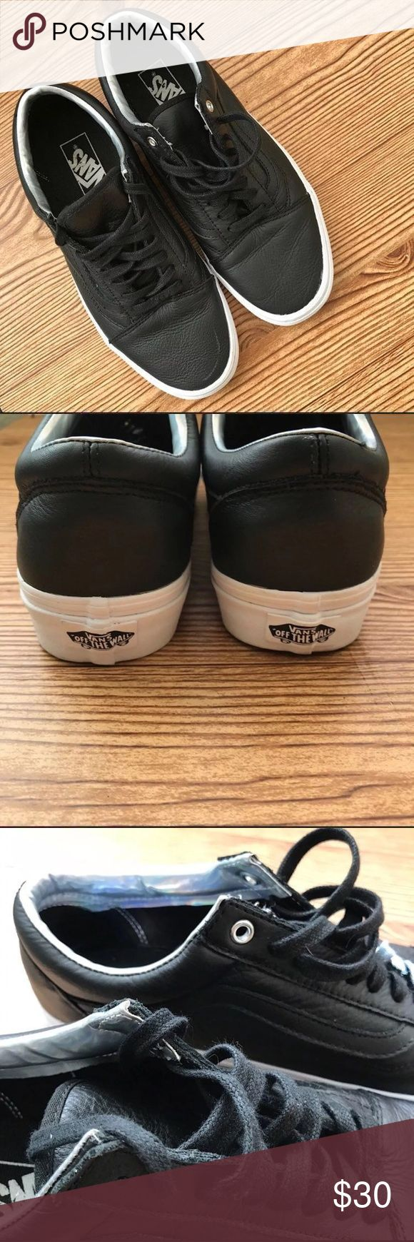 Black Leather Vans Worn only once. The only flaw is the silver ring in one of the shoes is missing.   Men's 8.5// Women's 11  #oldschool #holographic #skateshoes #unisex #oldskool Vans Shoes Sneakers