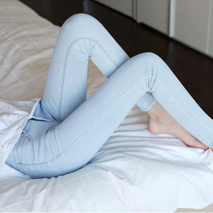 Womens light Blue jeans female thin pencil pants Slim Fit spring and summer stretch Women Plus size Denim pants Z1858