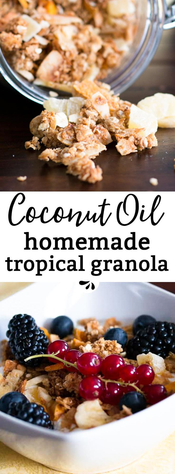 Homemade Tropical Coconut Oil Granola, a healthy, clean eating breakfast addition which will leave you dreaming of the Caribbean! It's easy to make and perfect for lazy summer breakfasts. The recipe makes a medium batch, so you won't be left with stale granola. The clusters get really big and the crunch is absolutely amazing! via @savorynothings