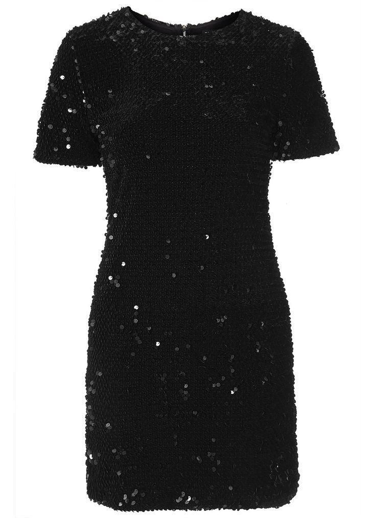 TOPSHOP Korte zwarte jurk met pailletten • de Bijenkof