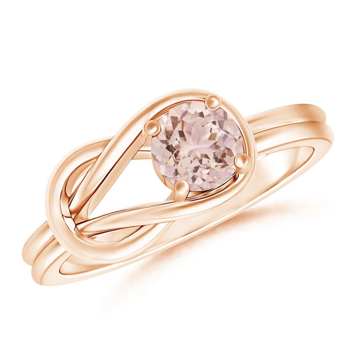The new black. A classic Solitaire Morganite Infinity Knot Ring in 4-Prong Setting. Perfect for any occasion.