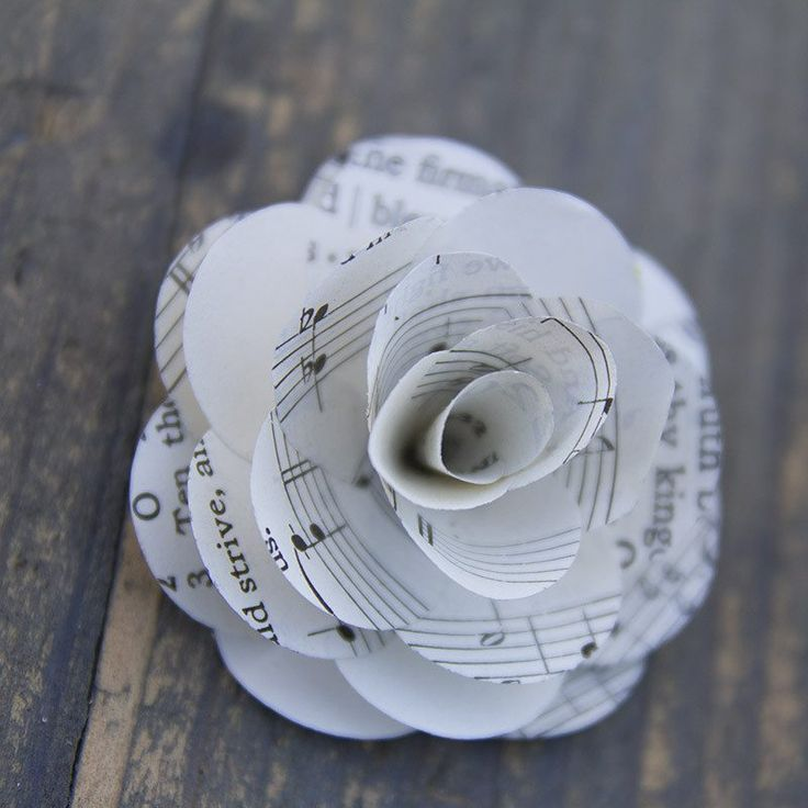 12pc - Music Sheet Mini Rose - Eco Flower - faux flowers - gift - wedding flowers