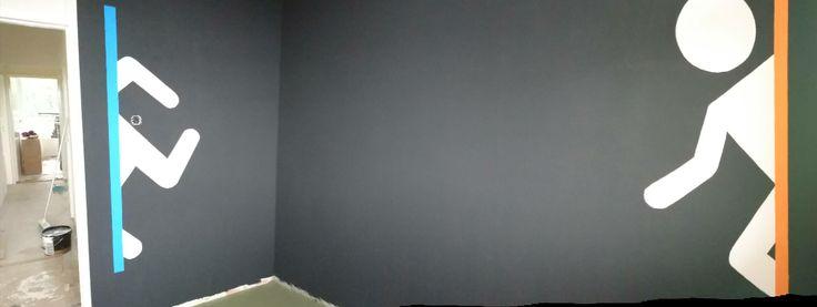 So my gf made portal on my mancave wall
