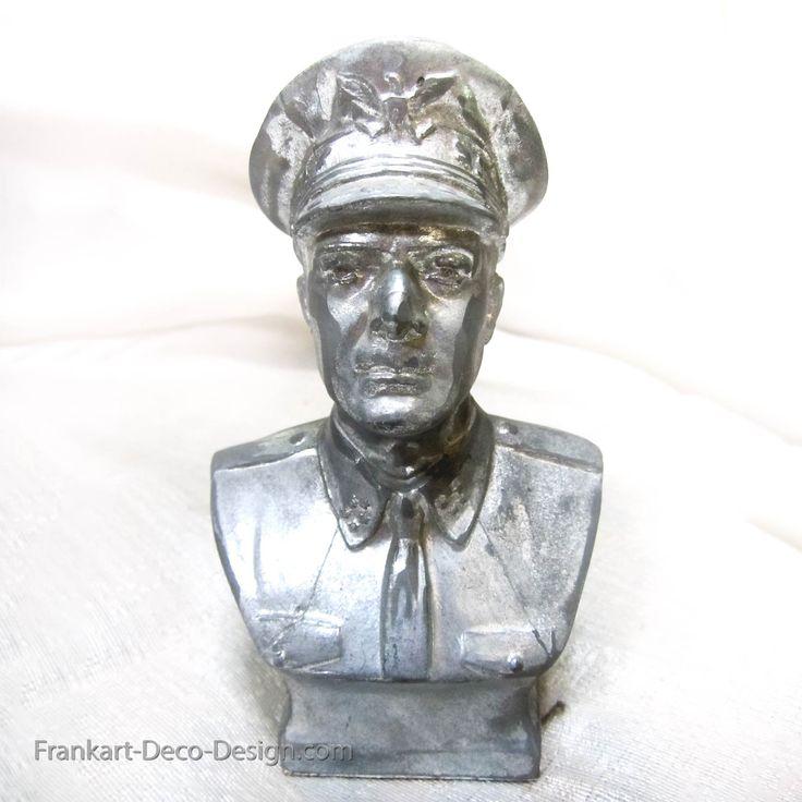 WWII U.S. Army Brigadier General Douglas MacArthur bust figurine in sanded aluminum