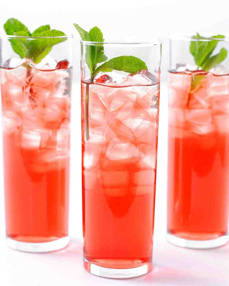Hibiscus-mint iced tea: Steep 4 hibiscus tea bags and 1/2 cup mint leaves in 4 cups boiling water for 10 mins. Strain; add 2 cups apple juice and 2 cups cold water. Serve over ice with sprigs of fresh mint. | Martha Stewart