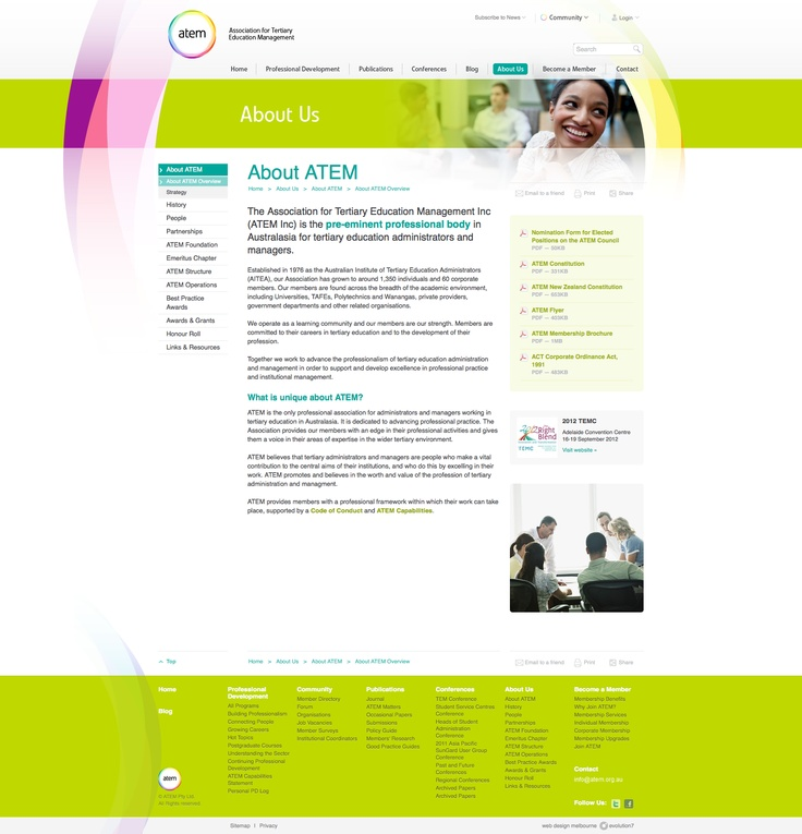 Also a really nice 'About Us' page. http://www.atem.org.au/about-us/about-atem/about-atem-overview
