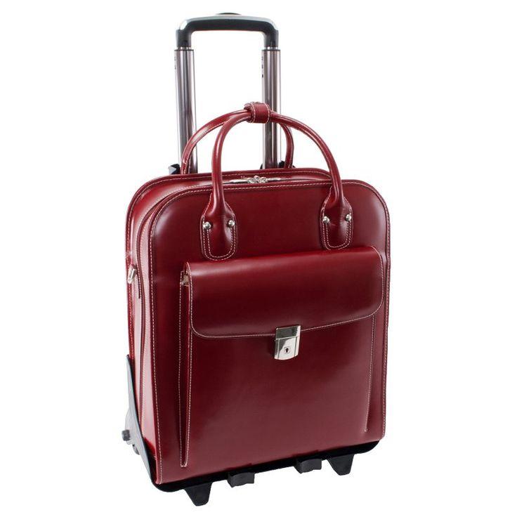 McKlein USA La Grange Leather Vertical Detachable Wheeled Ladies Briefcase Red - 96496