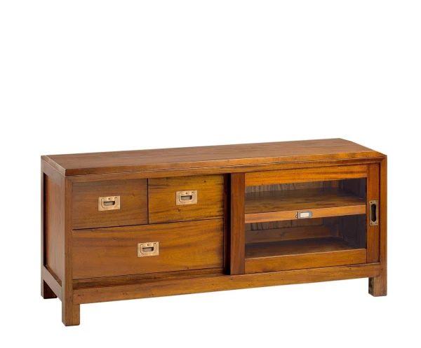Mueble de TV en madera de caoba Flamingo - largo 115 cm