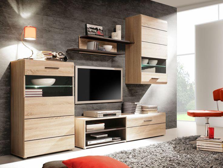 Elegante Wohnwand Cora III inklusive weißer LED Beleuchtung - moderner wohnzimmerschrank mit glastüren und led beleuchtung