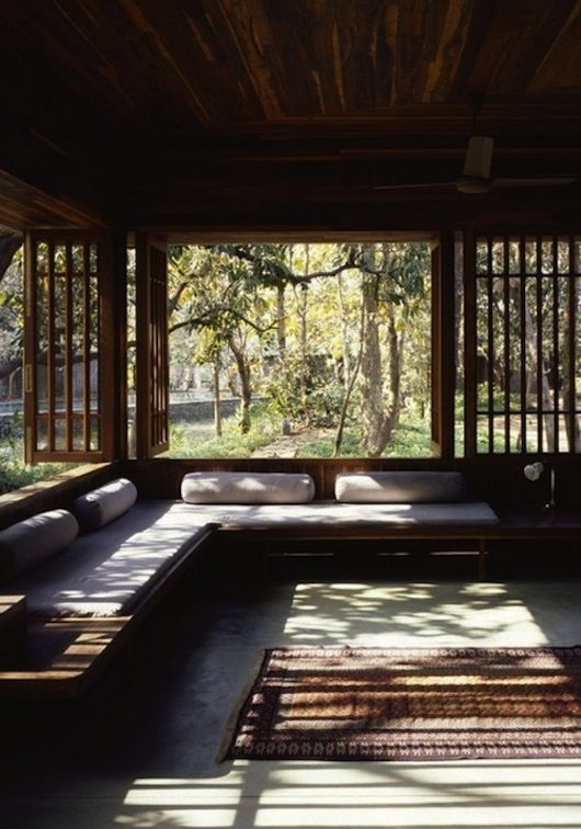 This has everything I like.... comfort, shade, the feeling of being outside when you're still inside, and it's a place to sit and read or relax and sleep :)