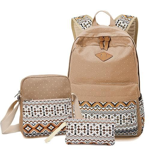 3a6559d9f38b Mochilas Quality Dot Printing Backpack 3 Pieces Set