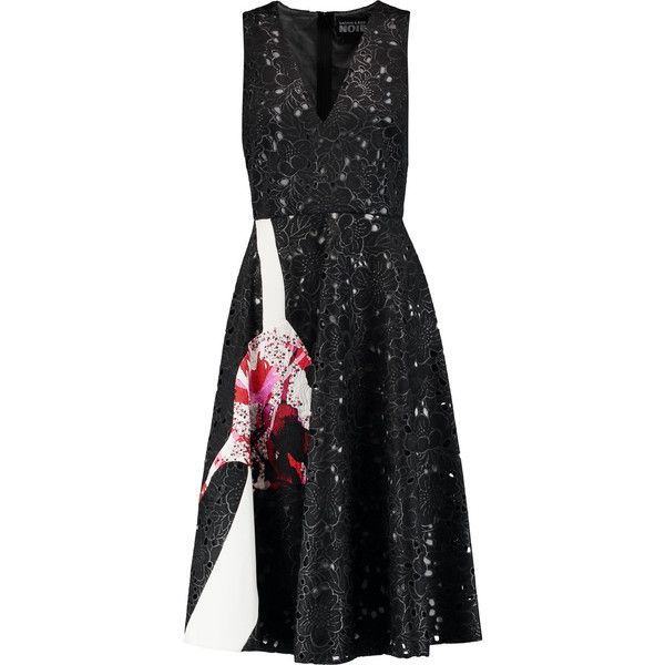 Noir Sachin & Babi Acai embellished broderie anglaise dress ($360) ❤ liked on Polyvore featuring dresses, black, broderie anglaise dress, petite dresses, multicolor dresses, loose fitting dresses and sequin embellished dress