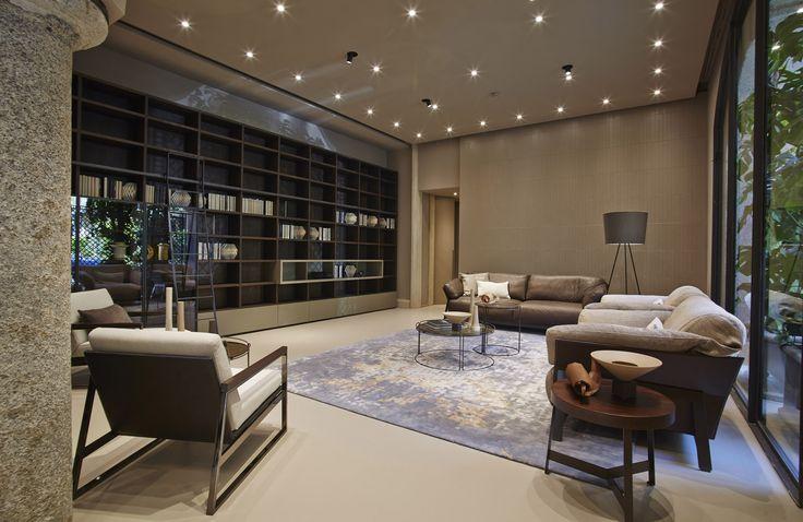 #sofa #livingroom #design #armchair #milan #ditreitalia #flagship #bookshelf