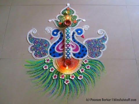 Beautiful and unique twin peacock rangoli | Innovative rangoli designs by Poonam Borkar - YouTube