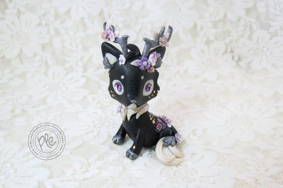 Polymer Clay Fox Figurine / Cute Fox Collectible / Korean