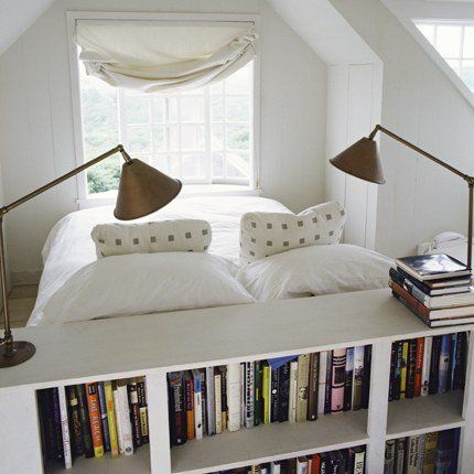 """The bed is placed to look outside (which, for what I can see, is a relaxing view), the """"headboard"""" seems to divide the room and hold the book collection, c.a.p.  Rent-Direct.com - No Fee Apt Rentals in NYC."""