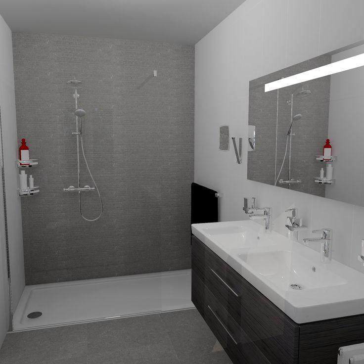 Inloopdouche met glazen wand op douchebak van 180cm gratis 3d ontwerpen met 360 view aanvragen - Moderne betegelde vloer ...