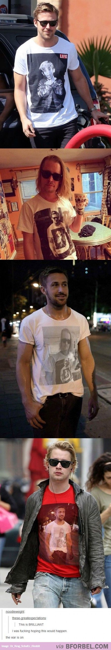 This is epic! McCauley Culken and Ryan Gosling have a tshirt war!