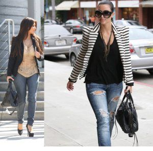 Pear Shaped Cloths Blazers Here Kim's has the shoulder pads which balance out the hips.