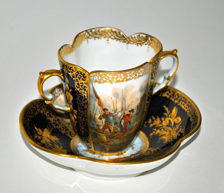 Dresden Porcelain Cabinet Cup Saucer Circa 1900 Hand Painted Scene:
