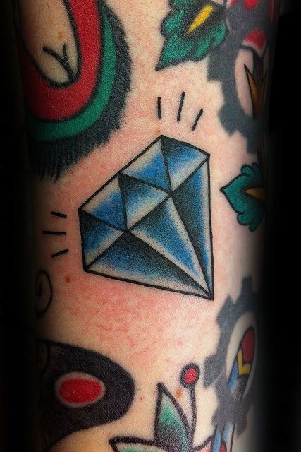 Man With Small Traditional Diamond Tattoo On Forearm
