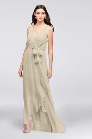Chiffon Ruffle-Trim Faux-Wrap Bridesmaid Dress 4XLF19748