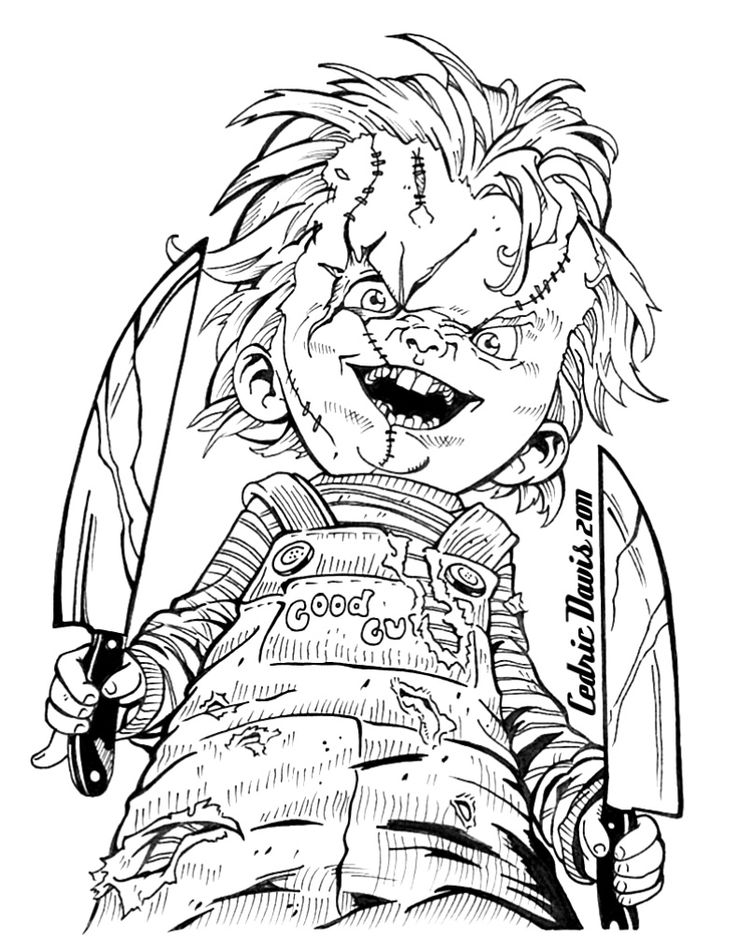 Chucky Drawings Zombie DrawingsHalloween DrawingsAdult Coloring PagesColoring
