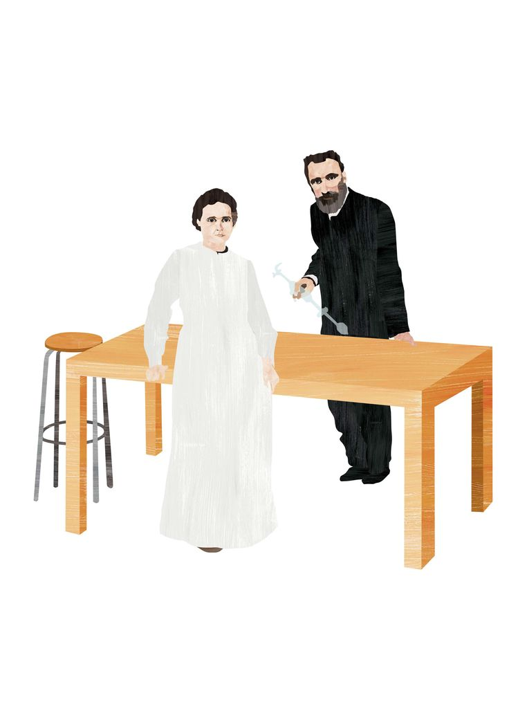"""Marie Curie-Skłodowska and Pierre Curie – illustration for the book series """"Idol"""". 2016"""