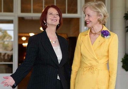 Julia Gillard (Prime Minister of Australia) with Quentin Bryce (Governor General of Australia) at Government House.