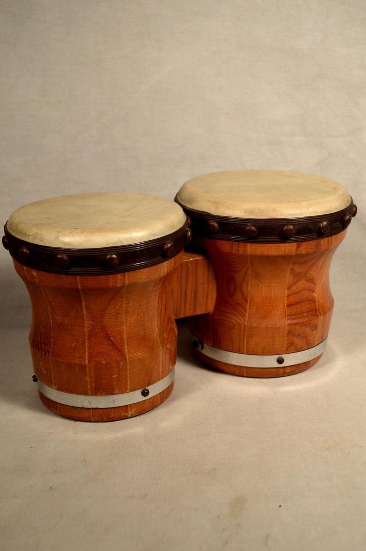 Vintage Bongo Drums Bongos Wooden Percussion Instrument