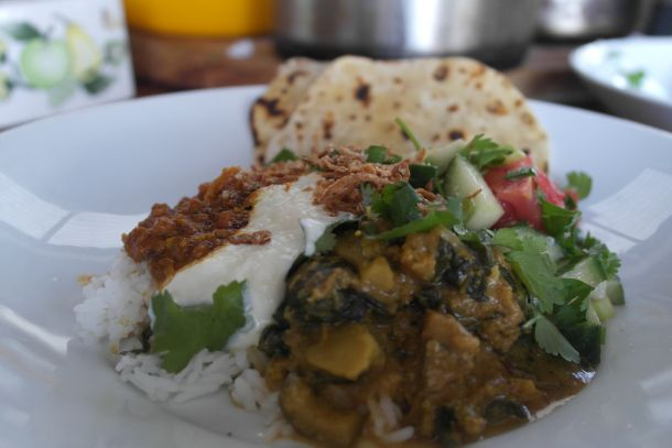 No meat Monday… eggplant and silverbeet curry