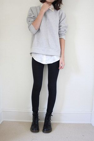 I like the simple loose look, and especially the leggings and boots.