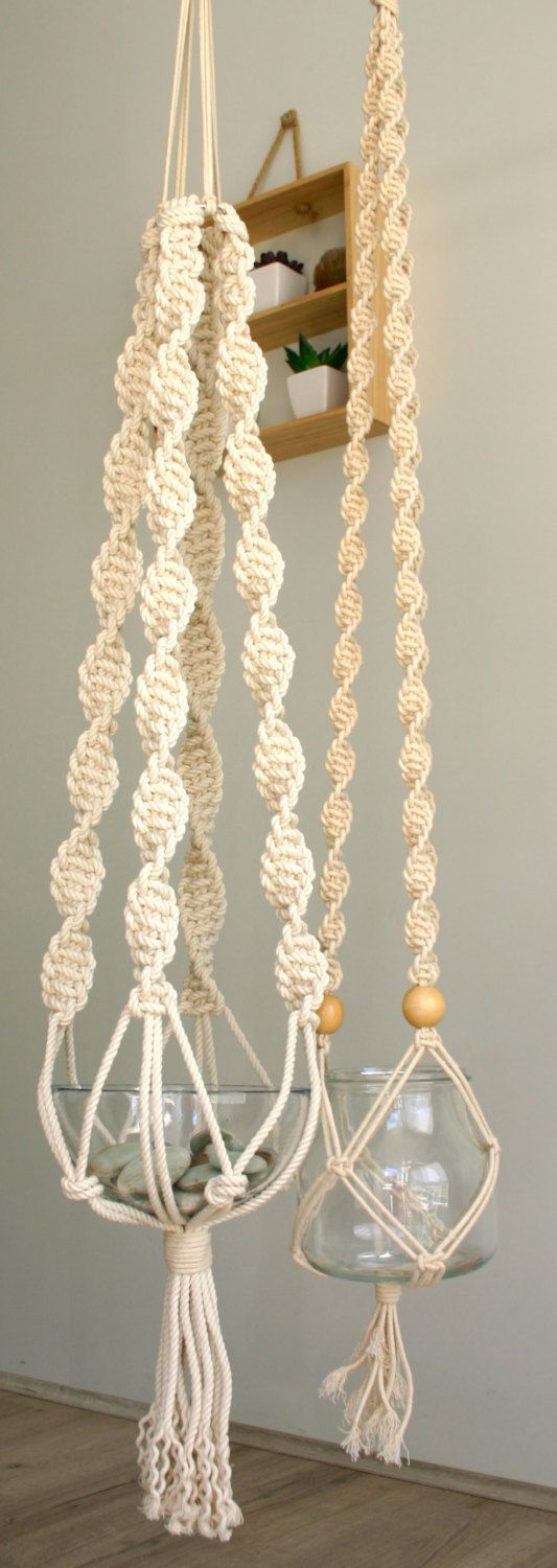 Large Macrame hanger with large round glass bowl by TheWelshmansWife on Etsy