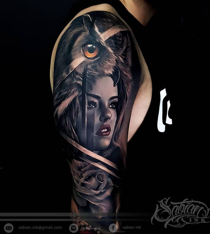 Nice black and grey tattoo of Wild Girl motive done by tattoo artist Sabian Ink