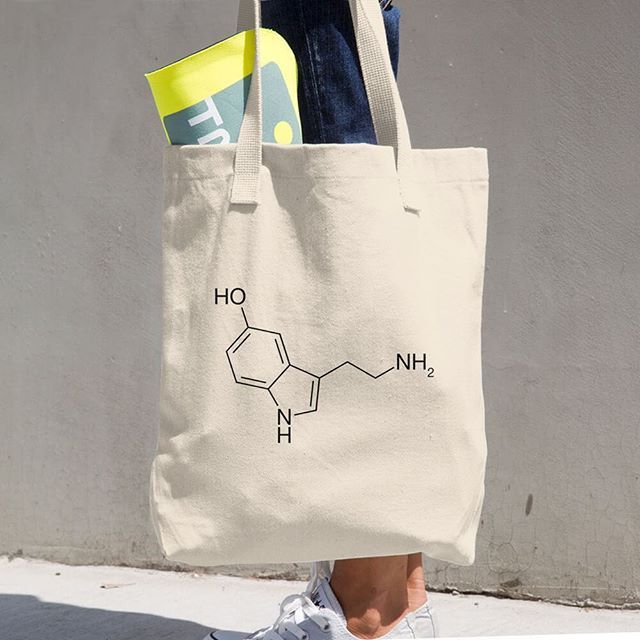 Our serotonin (happiness) molecule natural cotton tote bag made in America. Great and happy companion for all activities :) #yoga #totebag #happiness #happy #chemistry #serotonin #molecule #science #chemistrylove #neurotransmitter #staynerdy #moleculeoftheday #chemie