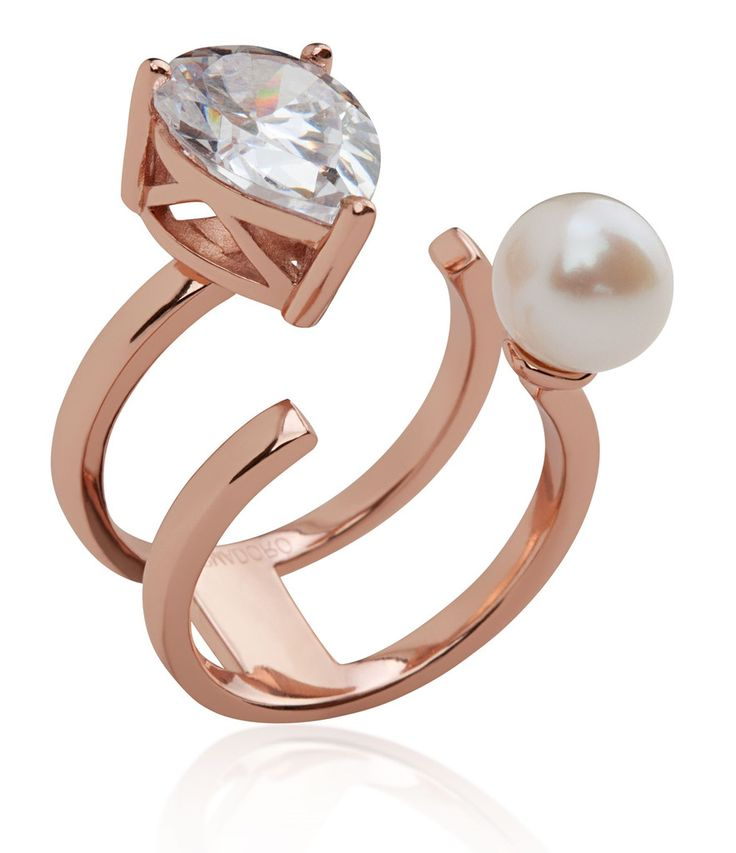 Arya Collection 2 rows pink gold vermeil ring with white pearl