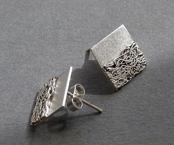 Sterling Silver Square Post Earrings SS9 by Kailajewellery on Etsy, £30.00