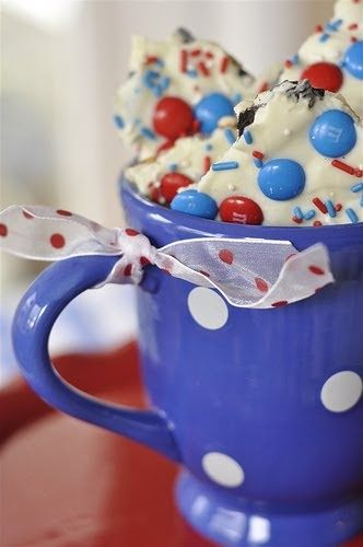 This recipe and photo came from Your Homebased Mom Blog. Ingredients: Oreos Pretzels Vanilla Flavored Almond Bark Coating Red, White, an...